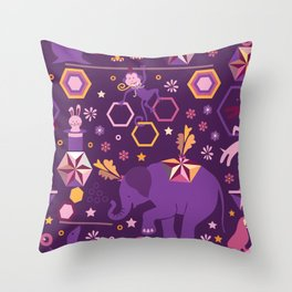 Hexagon circus Throw Pillow