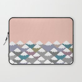 Nature background with Mountain landscape. Gray, pink, blue navy mountain with snow-capped peaks. Laptop Sleeve