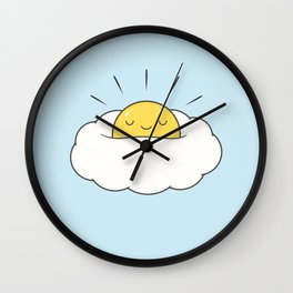 Sunny breakfast egg cloud  Wall Clock