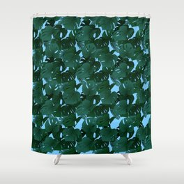 Monstera (Jungle) - Teal x Sky Shower Curtain
