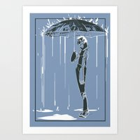 manchester Art Prints featuring Manchester Rain by Jo Ley