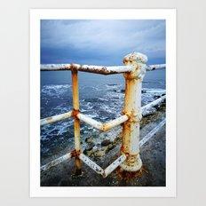 Winter sky meets winter sea. Art Print