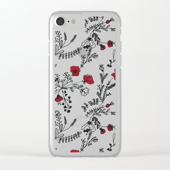 Red Flower Pattern Clear iPhone Case
