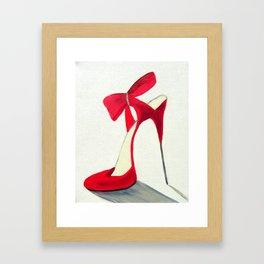 Red High Heel Shoe Framed Art Print