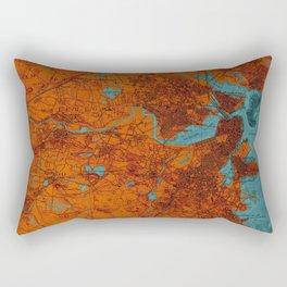 Boston 1893 old map, blue and orange artwork, cartography Rectangular Pillow