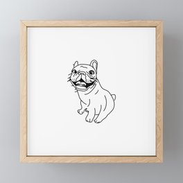 Frenchie Dog (b/w) Framed Mini Art Print