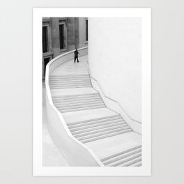 British Museum, London - Minimal white Staircase Art Print