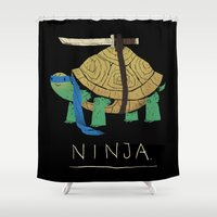 ninja turtle Shower Curtains featuring ninja - blue by Louis Roskosch