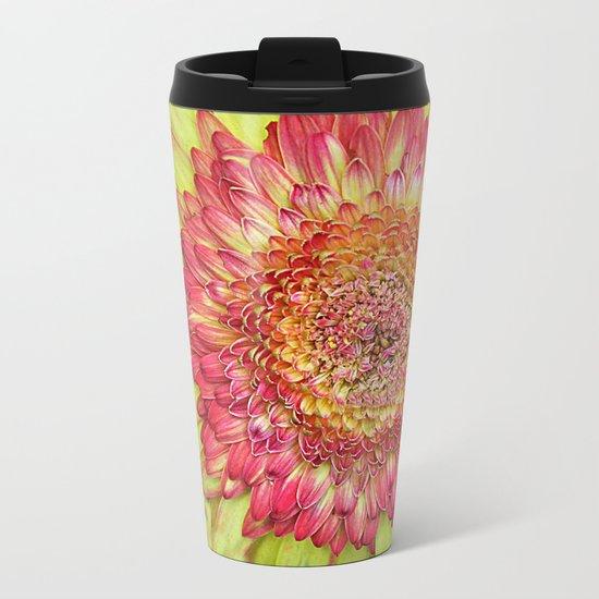 Flower yallow pink Metal Travel Mug