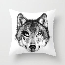 The Wolf Next Door Throw Pillow