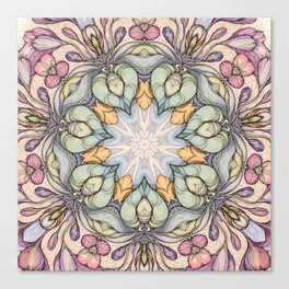 vintage flowers hand drawn and  kaleidoscope mandala Canvas Print