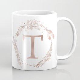 Letter T Rose Gold Pink Initial Monogram Coffee Mug