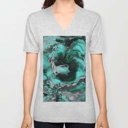 Teal and black Marble texture acrylic Liquid paint art Unisex V-Neck