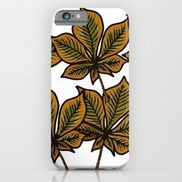 autumn horse chestnut leaves iPhone Case