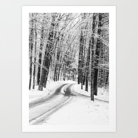 The Mysterious Way - Black and White Winter Road Art Print