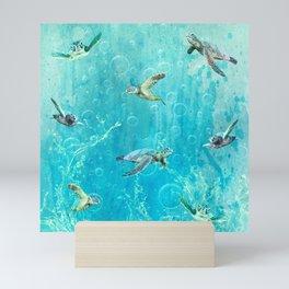Swimming Turtles Mini Art Print