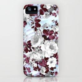 Boho burgundy white pastel marble floral pattern iPhone Case