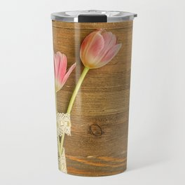 Pink Tulips Flatlay Travel Mug