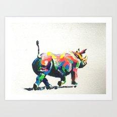 Rainbow Rhino Art Print
