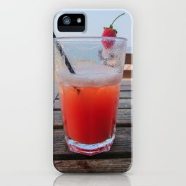 Orange cocktail on the wooden table with sea view, Istria, Croatian coast iPhone Case