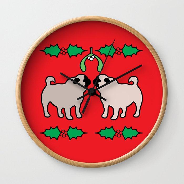 christmas pugs and kisses Wall Clock
