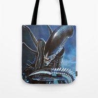 alien Tote Bags featuring Alien by Tom C Carlton