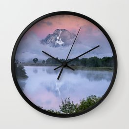 Sunrise Reflections at Oxbow Bend - Grand Teton National Park Wall Clock