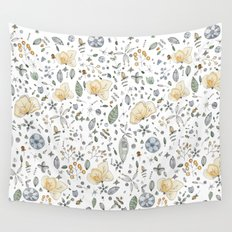 Flower Garden Watercolor Wall Tapestry