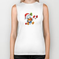 donald duck Biker Tanks featuring Christmas baby Donald Duck by Yuliya L