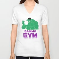 gym V-neck T-shirts featuring gamma gym by Louis Roskosch