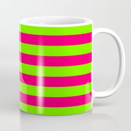 Super Bright Neon Pink and Green Horizontal Beach Hut Stripes Coffee Mug