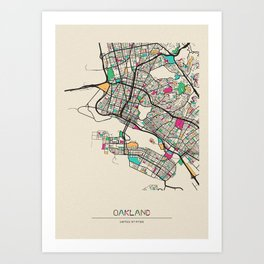Colorful City Maps: Oakland, California Art Print