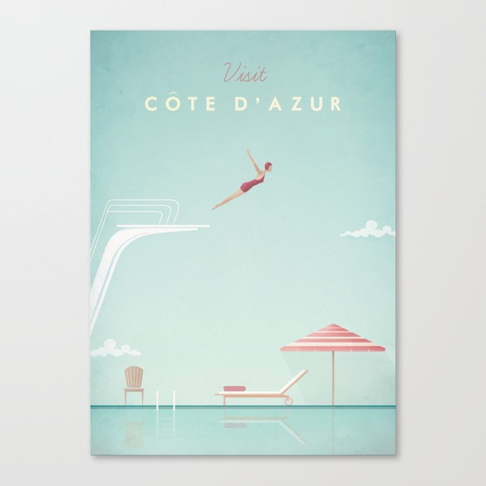 Vintage Côte d'Azur Travel Poster Leinwanddruck