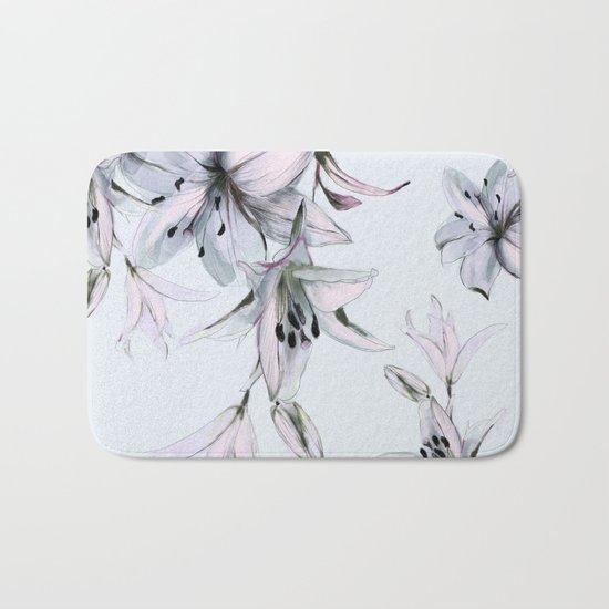 white lilies Bath Mat