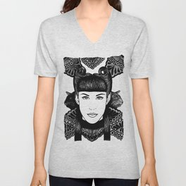 Girl with cats and motifs Unisex V-Neck