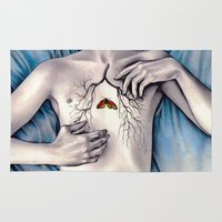 lungs Area & Throw Rugs featuring Between Two Lungs by KatePowellArt