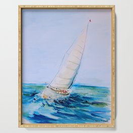 Sailboat Watercolor Serving Tray
