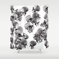 skulls Shower Curtains featuring Skulls by Rik Reimert