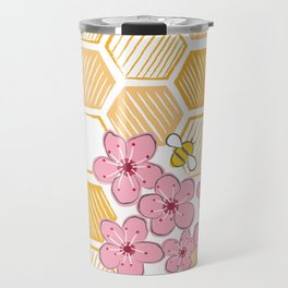 Cherry Blossom Bees Travel Mug