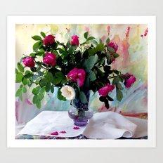 Rose Vase Still Life Art Print