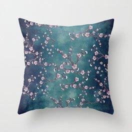 SAKURA LOVE  GRUNGE TEAL Throw Pillow