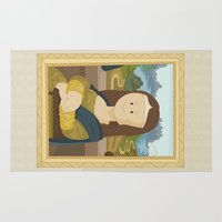 da vinci Area & Throw Rugs featuring Gioconda by Leonardo Da Vinci by Alapapaju