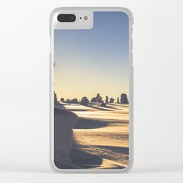 Snow covered Lapland in clear sunny day sunset Clear iPhone Case