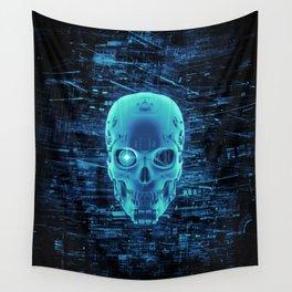 Gamer Skull BLUE TECH / 3D render of cyborg head Wall Tapestry