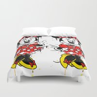 minnie Duvet Covers featuring Minnie Mashed by Dave Seedhouse.com