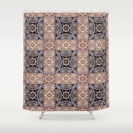Brown lace ornament. Shower Curtain