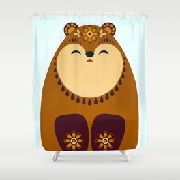 Folkloric Christmas Brown Bear Shower Curtain