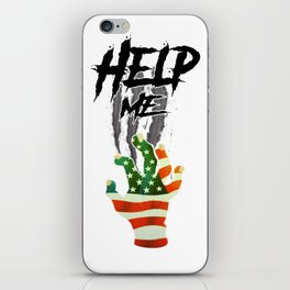 """""""HELP ME"""" American Flag Zombie/scary Movie Gag Gift funny iPhone Skin"""