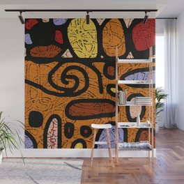 Abstract Orange Old Memphis Style Wall Mural