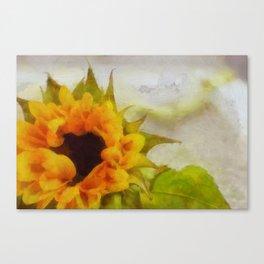 Sunflower Painting Oil Acrylic Art Print Illustration Nature Home Decor Landscape Plant Yellow Canvas Print